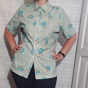 Vintage 70's Floral Squiggle Button Down Shirt Top